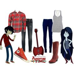 DUDE YES! (to web-site that shows u how to do EVERYTHING!) but this one is a couple's cosplay of Marceline and Marshal Lee. Nick we need to ahh Marceline Costume, Marceline Outfits, Cool Costumes, Cosplay Costumes, Halloween Costumes, Halloween Inspo, Halloween 2018, Costume Ideas, Marshall Lee Cosplay