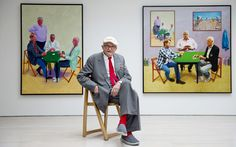 British artist David Hockney poses in the exhibition of his new works Painting and Photography at the Annely Juda Fine Art gallery in London, England, United Kingdom, photograph by Andy Rain. David Hockney Tate, Pop Art Movement, Tate Britain, Galleries In London, Canadian Art, Expositions, Arts And Entertainment, Fine Art Gallery, Figure Painting