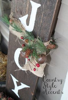 Rustic - Christmas Rustic JOY Sign - could make this with barn wood and rusty bells! Primitive Christmas, Outdoor Christmas, Country Christmas, Rustic Christmas, Winter Christmas, Christmas Holidays, Merry Christmas, Christmas Decorations For The Home, Xmas Decorations