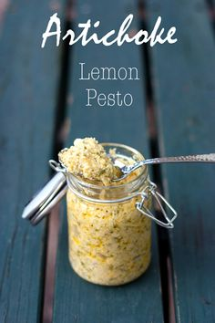 Artichoke Lemon Pesto. Great as a dip, spread, mixed with pasta, or on top of chicken or fish.