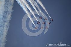 The Red Arrows Display Team Performing at the  Southport Air Show 2015.