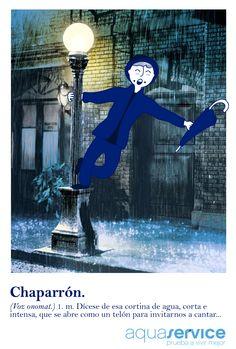 ¿Nunca has cantado bajo la lluvia de otoño? Los chaparrones despiertan al cantante que llevamos dentro.  #diccionarioaquaservice #creatividad #diseño #ilustración