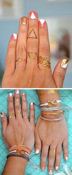 Coral + gold nails