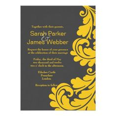 DealsDamask grey and yellow Modern Wedding invitationsso please read the important details before your purchasing anyway here is the best buy