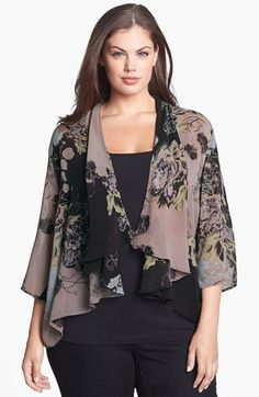 Free shipping and returns on Citron Print Silk Draped Jacket (Plus Size) at Nordstrom.com. Vintage-inspired floral imagery romances beautifully draped silk rendering a sheer jacket with an angled open front.