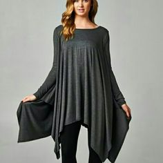 NEW The Drape Tunic in Charcoal A versatile Drape Tunic in charcoal  Perfect for the season,  wear with your favorite leggings  Material is rayon and spandex  Size S M L  Please indicate your size   Follow me on Facebook  Sweet-bb Boutique  Tops Tunics