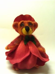 Rose Bear needle felted hand made outfit from faux petals.