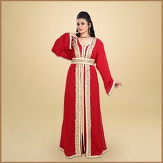 Add a splash of colour to your wardrobe with this red Kaftan Dress set! It features golden Ari Machine Embroidery and is made with the finest Georgette Fabric. Product no: 7422 Party Gowns, Party Dress, Modest Long Dresses, Kaftan Abaya, Georgette Fabric, Dress Set, Embroidered Lace, Lace Fabric, Machine Embroidery