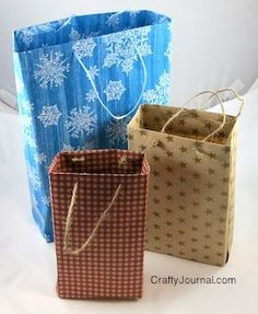 Make your own gift bags - out of wrapping paper, old calendars, maps, scrapbook pages, left over wall paper...