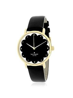 kate spade new york Women's Scalloped Metro Black/Black Stainless Steel and Leather Watch Black Stainless Steel, Apple Watch, Jewelry Accessories, Kate Spade, York, Watches, Leather, Clothes, Shoes