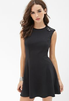 Embellished Fit & Flare Dress | FOREVER21 - 2055878972