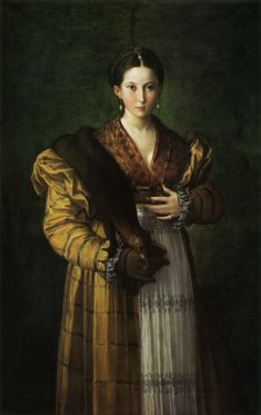 5. Parmigianino: A Beautiful Artifice by Antea c. 1531-1534 New silhouette of the 16th century emphasis of horizontal lines grown out of the germanic fashion culture.