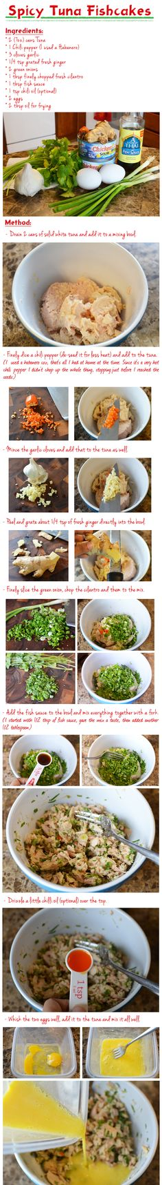 A recipe for fishcakes are super easy to make, healthy, gluten-free and very inexpensive using simple pantry items. If you like Thai and Asian flavors, then these fishcakes are definitely for you! Tuna Recipes, Seafood Recipes, Cooking Recipes, Healthy Recipes, Cooking Ideas, Fish Dishes, Seafood Dishes, Fish And Seafood, Fishcakes