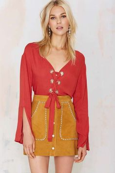 Nasty Gal Cross Up Lace-Up Blouse - Heart of a Warrior