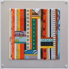 "String Quilt - Intersection by Mary Johannessen (Art Glass Wall Sculpture) (16"" x 16"")"