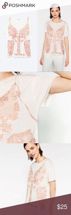 Devoré T-Shirt - ZARA Basic cut devoré t-shirt. Contrast round Neck. Short contrast sleeves. NWT. Size M. Zara Tops Tees - Short Sleeve
