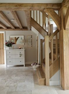 from small acorns .: weathered oak house - ideas around the . - from small acorns ………: weathered oak house – ideas around the … – Cottage Küche – # - Cottage Staircase, Cottage Hallway, Cottage House, Style At Home, Border Oak, Oak Frame House, House Ideas, Cottage Interiors, Staircase Design