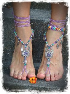 PURPLE wedding BAREFOOT SANDALS Lotus Toe Thongs crochet by GPyoga