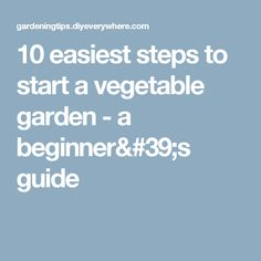 10 easiest steps to start a vegetable garden - a beginner's guide