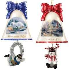 Christmas Ornaments: Thomas Kinkade Ringing In The Holidays Ornament Set: Set 6 by The Bradford Exchange