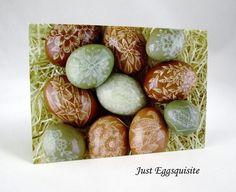 Set of 3 Pysanky Ukrainian Egg Blank 3 x 5 Folded Note Cards