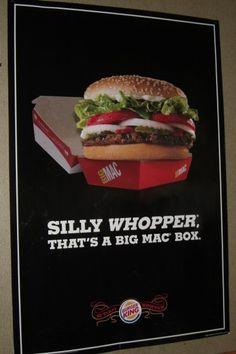 Inteligente publicidad de Burger King, la Whopper en la caja de una Big Mac