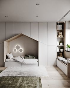with Minimalist Kids bedroom with ample storage a quaint little bed and a window seating station.
