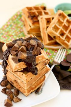 OMG...peanut butter  chocolate waffles. A little heavy. Don't know exactly how to make them lighter...