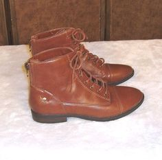 G. H. Bass Sz 8.5M Bass-Patricia Brown Faux Leather Lace Up Boots W/ Back Zipper #GHBass #AnkleBoots