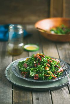 Kale salad with cherries, pecans, and prosciutto