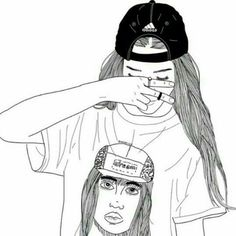 Images and videos of black and white sketches Tumblr Outline, Outline Art, Outline Drawings, Cute Drawings, Drawing Sketches, Girl Drawings, Text Drawings, Tumblr Girl Drawing, Tumblr Art