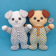 "Black and White or Color? Both ""Dog in Pajamas"" are Cut and Sew Softie fabric panels. They are do it yourself sewing projects with the instructions on the fabric panels. You only need fusible fleece for the ears and stuffing to complete these 11 inch tall Dogs. Also check out my Bears, Bunnies, and Cats. They are available in my Spoonflower shop. Link in Profile."