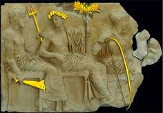 Poseidon, Apollo and Artemis with their gold-plated copper symbols, from the East Frieze of the Parthenon . Parthenon Athens, Acropolis, Apollo And Artemis, Sculptures, Lion Sculpture, Simple Minds, Archaeological Finds, Ancient Greece, Parthenon