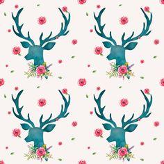 Woodland Floral Deer Fabric  Floral Aqua Deer With by Spoonflower