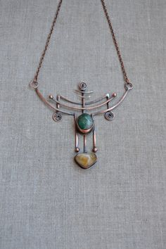 Copper necklace-amulet green and yellow Egyptian style amulet green golden yellow copper necklace lines original necklace favorite jewelry magic jewelry unusual jewelry 49.00 USD #goriani