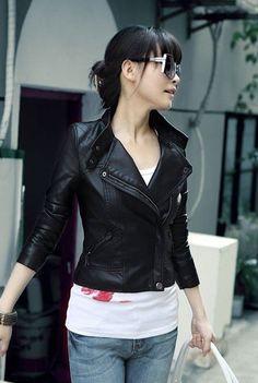 Jaket KulitModel Jaket Kulit Wanita · Simple Cute Leather Jacket Womens  Black Leather Jacket 9c684b1dc7