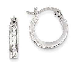 925 Sterling Silver Rhodium-plated Polished /& Diamond-cut Round Hoop Earrings 3mm x 55mm