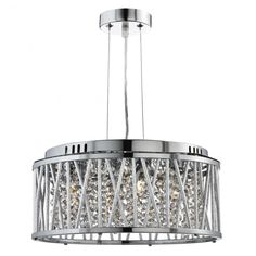 This Elise Chrome 4 Light Fitting with Crystal Button Drops and Aluminium Tubes Trim makes a bold centrepiece for any bedroom, living room, dining room or kitchen. The circular chrome finish fitting has aluminium tubes in a criss-cross and straight lined Chrome Pendant Lighting, Chandelier, Crystal Chandelier, Ceiling Lamp, Pendant Lighting, Bedroom Light Fittings, Ceiling Pendant, Ceiling Lights, Stylish Lights