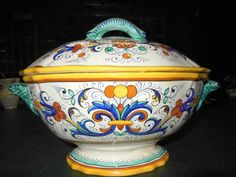 """Deruta Ricco Soup Tureen, Covered Bowl, or Centerpiece Italian Majolica LARGE MINT 13"""" wide x 4"""" deep"""
