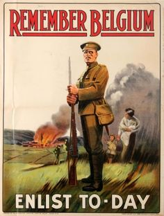 Remember Belgium WWI UK, 1915 - original vintage World War One propaganda poster listed on AntikBar.co.uk