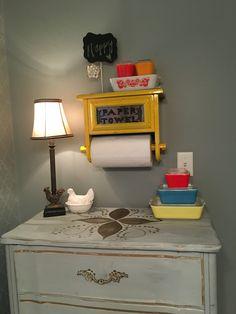My vintage corner :) Grandma's paper towel holder, my childhood dresser and some of my beloved #Pyrex #breakfastnook #vintage