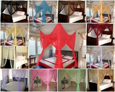 4 Poster Bed Canopy Net Sheer Panel Lace Mosquito Bedroom Insect Curtain Netting…
