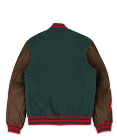 Varsity jacket. Wool exterior with PU sleeves and quilted satin interior lining, embroidered patches, full snap front closure, striped wool collar, cuffs and bottom hem. Fits true to size. 2 FRONT POCKETS BUTTON CLOSURE PATCH DETAIL MACHINE WASHABLE DESIGNED IN NYC