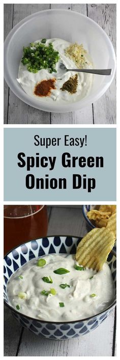 Spicy Green Onion Dip recipe is so easy to whip up, and folks love the flavor! That's why it's my got to appetizer recipe when I need to bring something to a party. #GameDayEats #easyrecipes #greenonions #SundaySupper