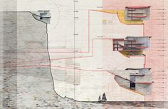 Sections for Cliff Top Retreat by Alex Hogrefe of Visualizing Architecture conceptual concrete architecture