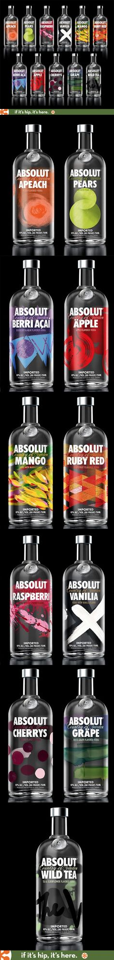 A look at all the newly redesigned Absolut Flavored Vodka Bottles.