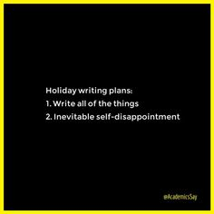 Holiday Plans For Writers
