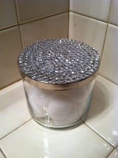 Made this from an old candle from Bath and Body Works. Added the jewels with hot glue - Diy Home Decor Dollar Store Diy Makeup Organizer, Makeup Organization, Jar Crafts, Cute Crafts, Glass Jars, Candle Jars, Candle Containers, Do It Yourself Organization, Old Candles