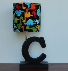 Small Dinosaur Drum Lamp Shade - Black with Multi-colored Dinosaurs - Great for Nursery or Boy's Room