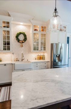Kitchen Marble Counter top. The beautiful counter top in this kitchen is carrara marble. #Kitchen #Countertop #Marble #Carrara
